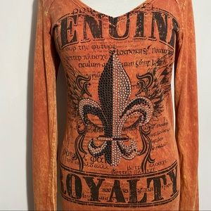DAYTRIP distressed graphic cotton tee with bling M